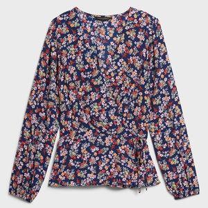 BANANA REPUBLIC Navy Floral Print Wrap Top Blouse
